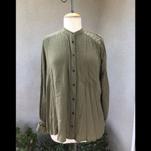 Free People blouse avocado green lace sz S
